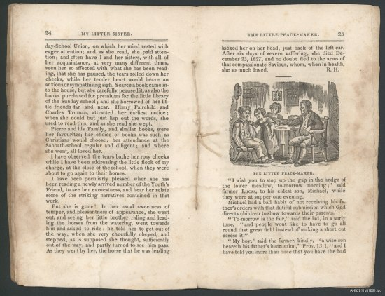 Folios from a publication laid open. There is a string that holds the pages together that is visible and text on both pages. The paper is discolored. On the right page there is an illustration of a group of people in a room, several children and an adult.