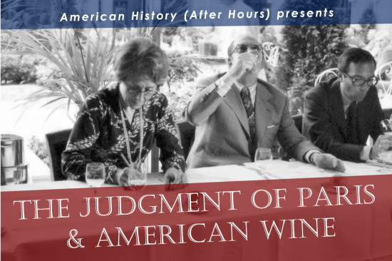 The Judgment of Paris text over an image of three people drinking wine
