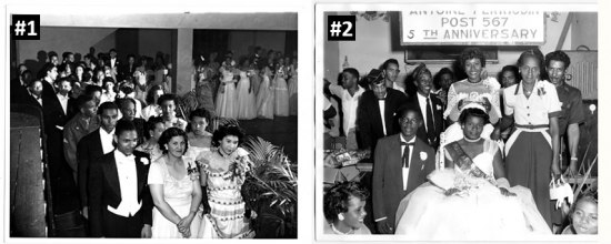 Two black-and-white photos showing groups of people at parties