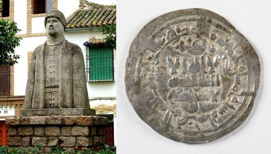 Silver-colored coin and large outdoor statue of Al-Hakam II from the waist up