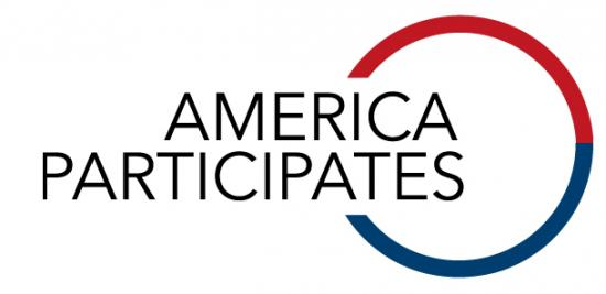 "Graphic with text ""America Participates"" and circle in which half is red and half is blue"