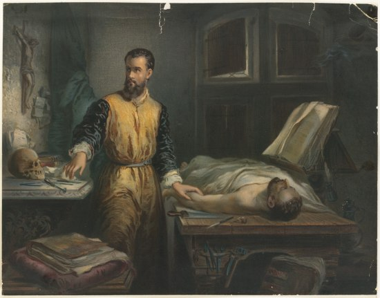 A painting of a man touching the arm of a cadaver that lays on a slab. The man looks off as he reached for a tool on the counter next to him.