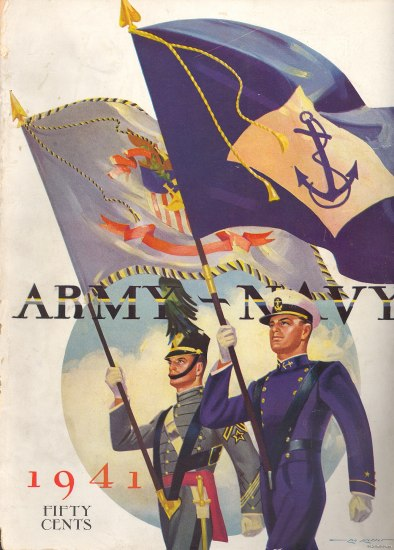 "Color illustration of a soldier and sailor proudly carrying one flag each with military branch symbols. Crisp uniforms and blue sky in the background. Text: ""1941"" ""Fifty Cents"" ""Army-Navy"""