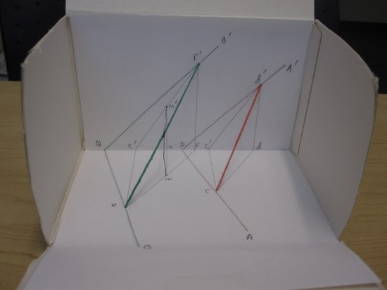 A white cardboard box with one of the side cut away. There are geometric drawings in the inside of the box with string and small letters to label the angles.