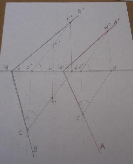 A photopgraph of a white piece of paper that resembles the models seen throughout the rest of the post. There are lines drawn in pencil intersecting each other at various points with small letters next to angles.