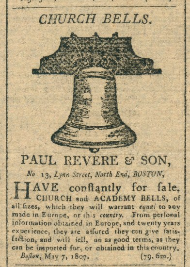 Old newspaper clipping of a printed advertisement from a column. There is a large bell at the top.