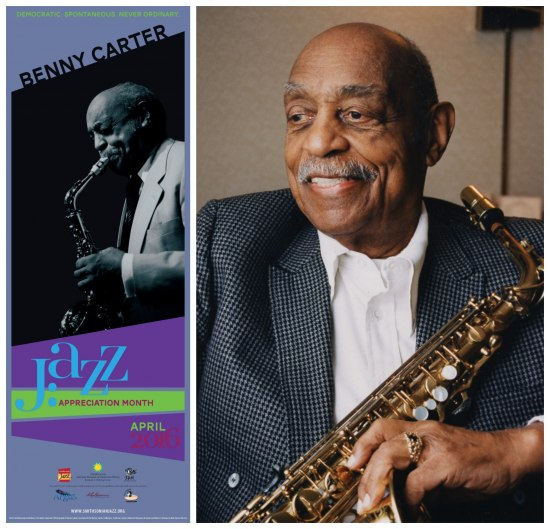 On left, poster image featuring Carter and graphic. On right, photo of Carter smiling, wearing suit, and holding instrument.
