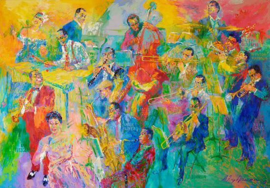 Large, colorful painting featuring 18 jazz musicians