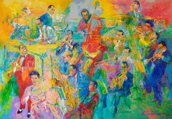 """Big Band"" painting featuring 18 musicians"