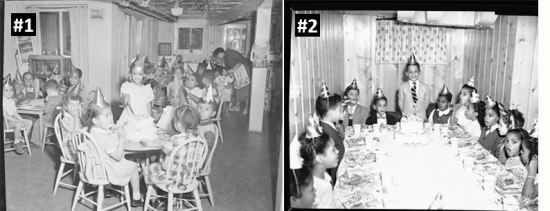 Two black-and-white photos of birthday parties attended by children.
