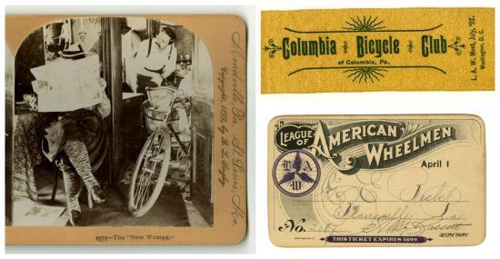 Stereocard, club ribbon, League of American Wheelmen membership card