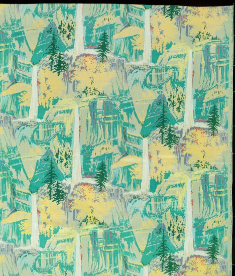 Silk patterned with thin ice blue waterfalls and rocky outcroppings in teal with butter yellow trees