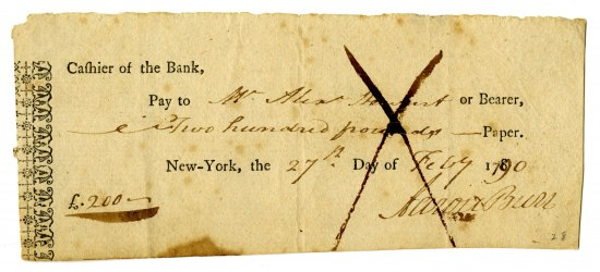 "Unevenly cut rectangular piece of paper with ""Cashier of the Bank"" in printed text and other text in cursive. An ""X"" is across the center."