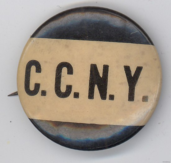 "Round pin-back button with text ""C.C.N.Y."" in all caps in center on a white rectangle."