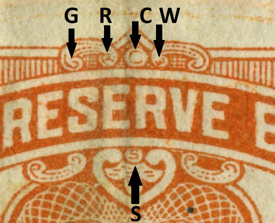 Detail of bill with arrows indicating certain areas and the letters G, R, C, W, and S.