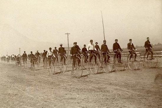 San Francisco bicycle club members riding high wheels