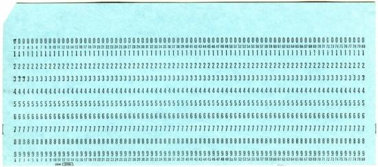Blue punch card with numbers
