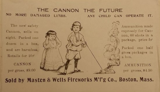 "Black and white advertisement for ""the cannon of the future."" It features drawings of a little girl holding her ears and a little boy lighting a toy cannon with a smoking side."