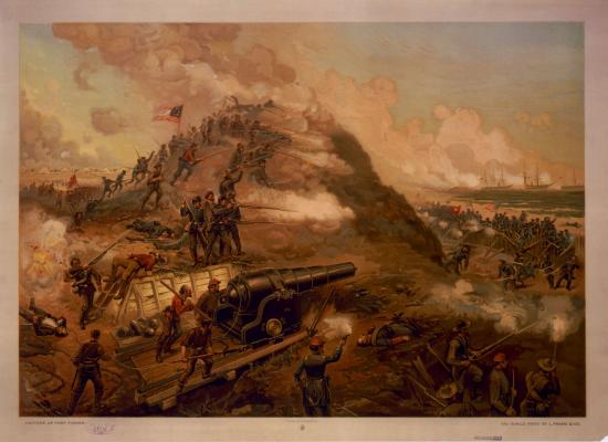 Colorful image of soldiers, hill, smoke, flags