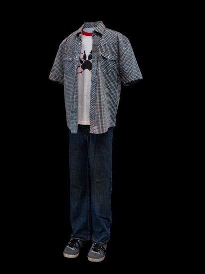 An outfit that would be worn by a young man consisting of blue jeans, gray tennis shoes, a blue and white checkered shirt and a white tshirt with a black pawprint on the chest