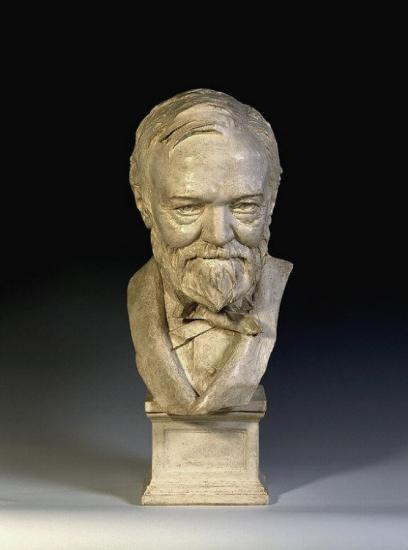 Bust of Andrew Carnegie, white painted plaster