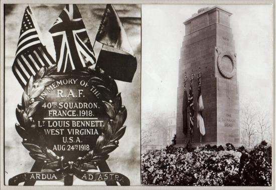 Left: a memorial wreath with an American, British and French flag. Right: a stone memorial