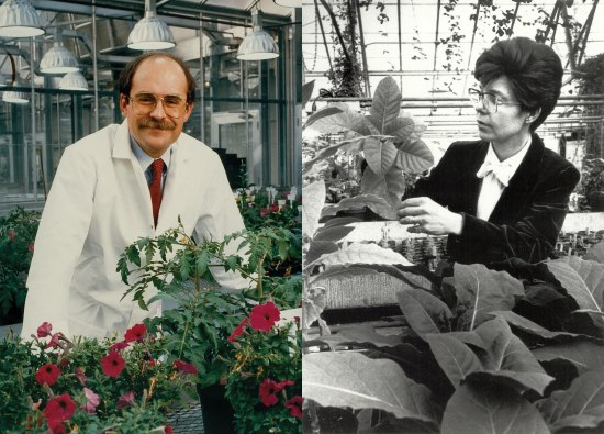 In this collage of two photos, Chilton and Fraley pose for portraits in their respective labs.