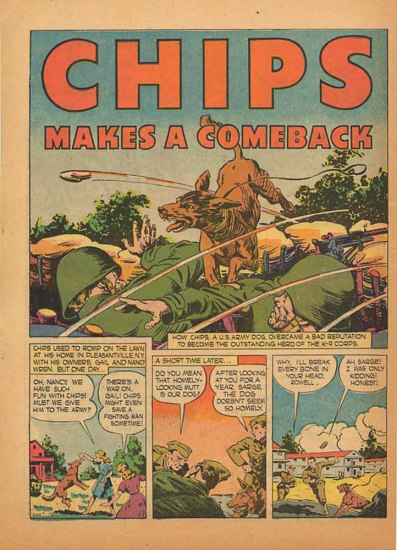 Comic book page, in color, featuring a dog jumping over a military trench with two soldiers in it and other scenes.