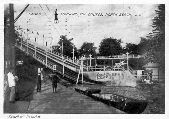 Black-and-white photo of chutes ride--slanted tracks