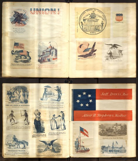 Two folios vertically juxtaposed. The top has illustrations and other pictures cut from different places that relate to the Union side of the Civil War; The bottom has similar patriotic illustrations and pictures for the Confederates.