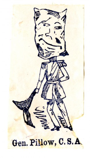 "a cartoon figure man stands with a bag on his head above text that reads ""Gen. Pillow, C.S.A."""