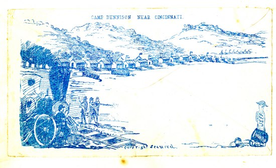 "a print shows ""Camp Dennison"" where three men are using a figure named ""Jeff"" for target practice as a train steams ahead through the foreground"