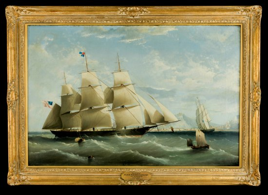 A painting in a gold frame of a ship sailing. It looks large with three masts.