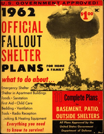 A booklet concerning the 1962 nuclear fallout plans. It is yellow with red and black text boxes and font. A mushroom cloud decorates the righthand side.