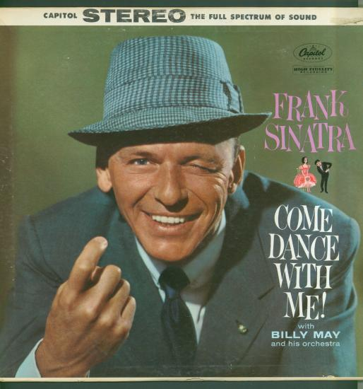 Album cover with color photo of Frank Sinatra winking and beckoning