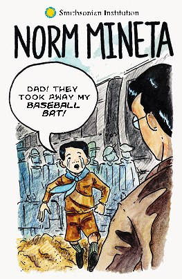 "Cover of comic book. Little boy in tears runs to father. Text: ""Dad! They took away my baseball bat!"""