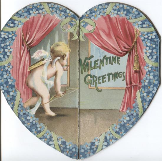 Valentine cover, cupid sneaking in a window