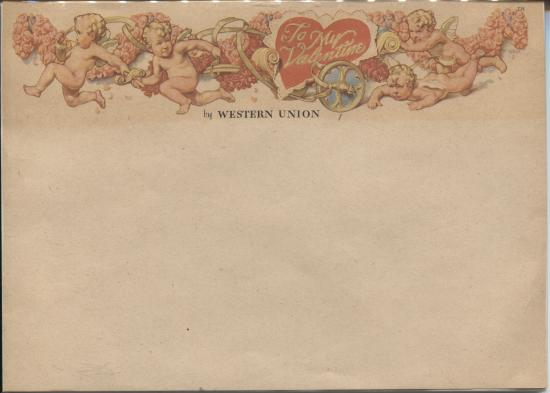 Western Union form with cupid header