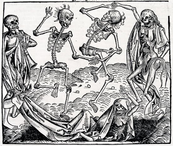 A black and white print depicting skeleton dancing gleefuly despite the decay of their bodies. One skeleton plays some variation of the clarinet.