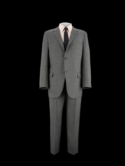 Gray suit with tie