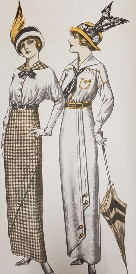Illustration in black and yellow of two women both wearing fancy hats. One has a whole wing on her hat. The other has a giant ribbon.