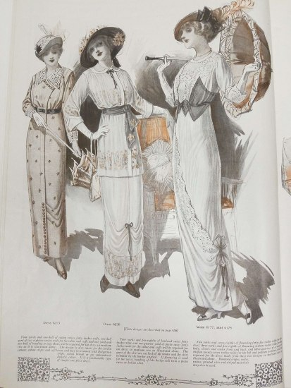 Illustration of three women wearing hats, mostly in black and tan. One hat has an elaborate feather detail. Another has flowers. The third includes lots of ribbon. There are ribbon details on other pats of the women's dresses as well.