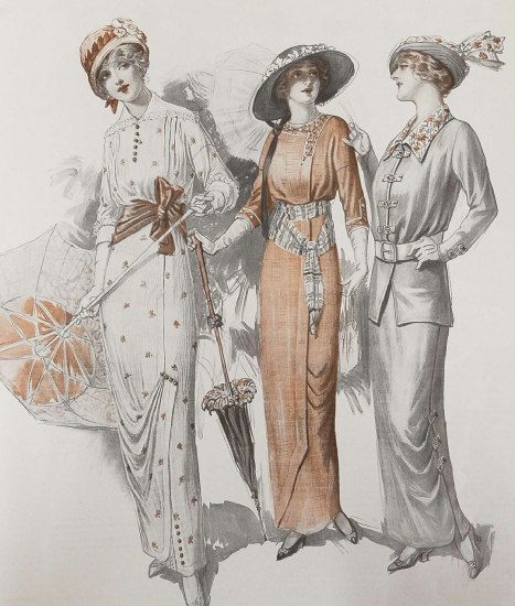 Illustration in black and tan of three women wearing hats. Two carry umbrellas. All three wear gloves and fancy, long dresses.