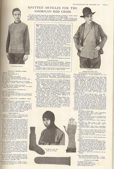 """Page of knitting instructions with black and white images/illustrations. Title """"Knitted articles for the American Red Cross."""" Shows men in vests, mittens, socks."""