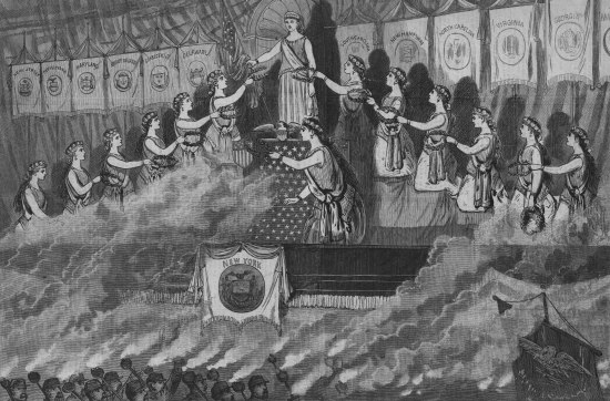 Black and white illustration of 13 women on a stage in a triangular formation. They are wearing robes and crowns like those of Ancient Greece. A crowd of torch bearers stand below the stage, smoke rising and partially covering the women.