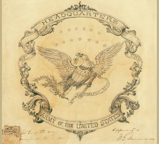 "Design with an eagle in the center, stars, and elaborate flourishes that say ""Headquarters of the Army of the United States"""