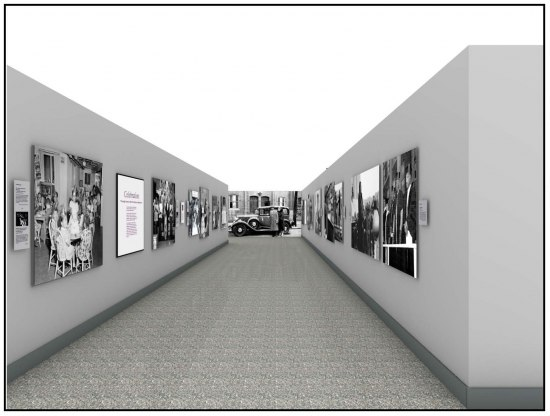 Draft design graphic showing a view down a hallway. On all three walls visible, black and white photos reproduced in large size. Gray walls and carpet.