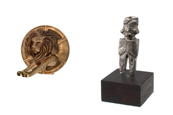 Collage image. On the left, a photograph of Tony Dieste's Cannes Lion, a gold statue of a lion with a circular background. On the right, a photograph of a small silver statue replica of Mezcala figure.