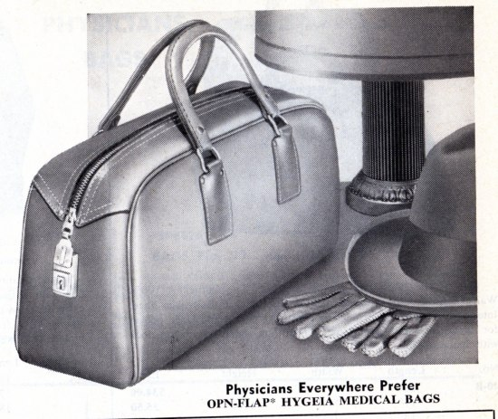 A portion of a printed ad. On the right is an illustration of a bag with two handles next to a hat with a pair of gloves laid underneath.