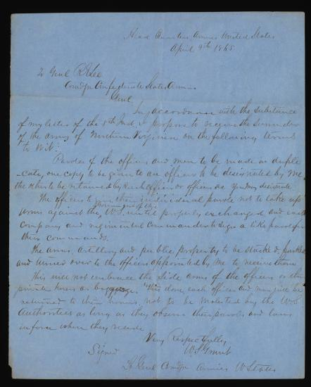 Handwritten document in cursive on blue paper, one sheet